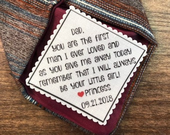 "FATHER of the BRIDE GIFT, Tie Patch, Sew On, Iron On, Personalized Patch, 2.5"" Wide, You Are the First Man I Ever Loved, As You Give Me Away"