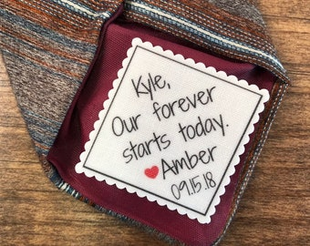 "Personalized Wedding Tie Patch - GROOM TIE PATCH, Sew or Iron On, 2.5"" or 2"" Wide, Our Forever Starts Today, Gifts for Him, Groom Gifts"
