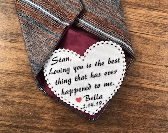 "Loving You Is The Best Thing That Has Ever Happened To Me VALENTINES DAY Tie Patch, Gift for Him, Sew, Iron On, 2.25"" Heart Shape, Ink Print"