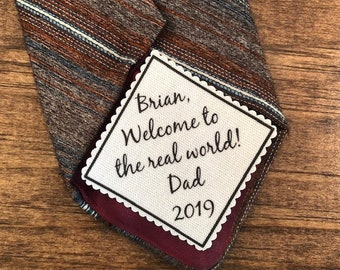 "Graduation Tie Patch - Sew On or Iron On, 2.5"" Wide Patch, Welcome to the Real World, Graduation Gifts, High School, College Grad"