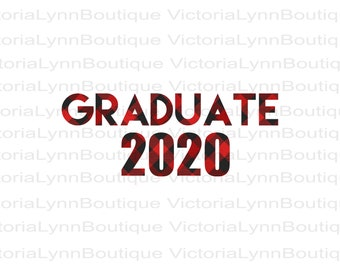 Graduate 2020 - Red Buffalo Plaid - For Sublimation Printing, T-Shirt Png, Tote Png, PNG File, 300 DPI, DTG, Instant Digital Download