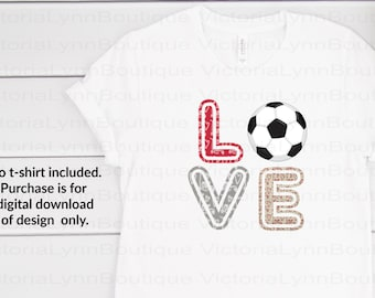 Love Soccer Valentine Print For Sublimation Printing, PNG File, 300 DPI, DTG printing, Instant Digital Download