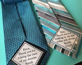 "SET of 2 TIE PATCHES, Father of the Bride, Father of the Groom, Sew, Iron On, 2"" or 2.5"" Wide, Thank You For Walking, Thank You For Raising"