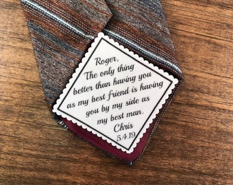 "BEST MAN Tie Patch - Iron or Sew On, Best Man Best Friend, From the Groom, 2.5"" or 2"" Wide Patch, Gift for Best Man, Best Man Gift"