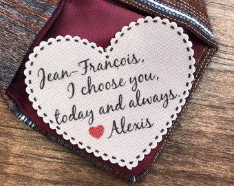 "GROOM'S TIE PATCH - From the Bride, Sew or Iron On, Gifts for Him, I Choose You, 2.25"" Heart Shaped, For the Groom, 15 Fonts!"