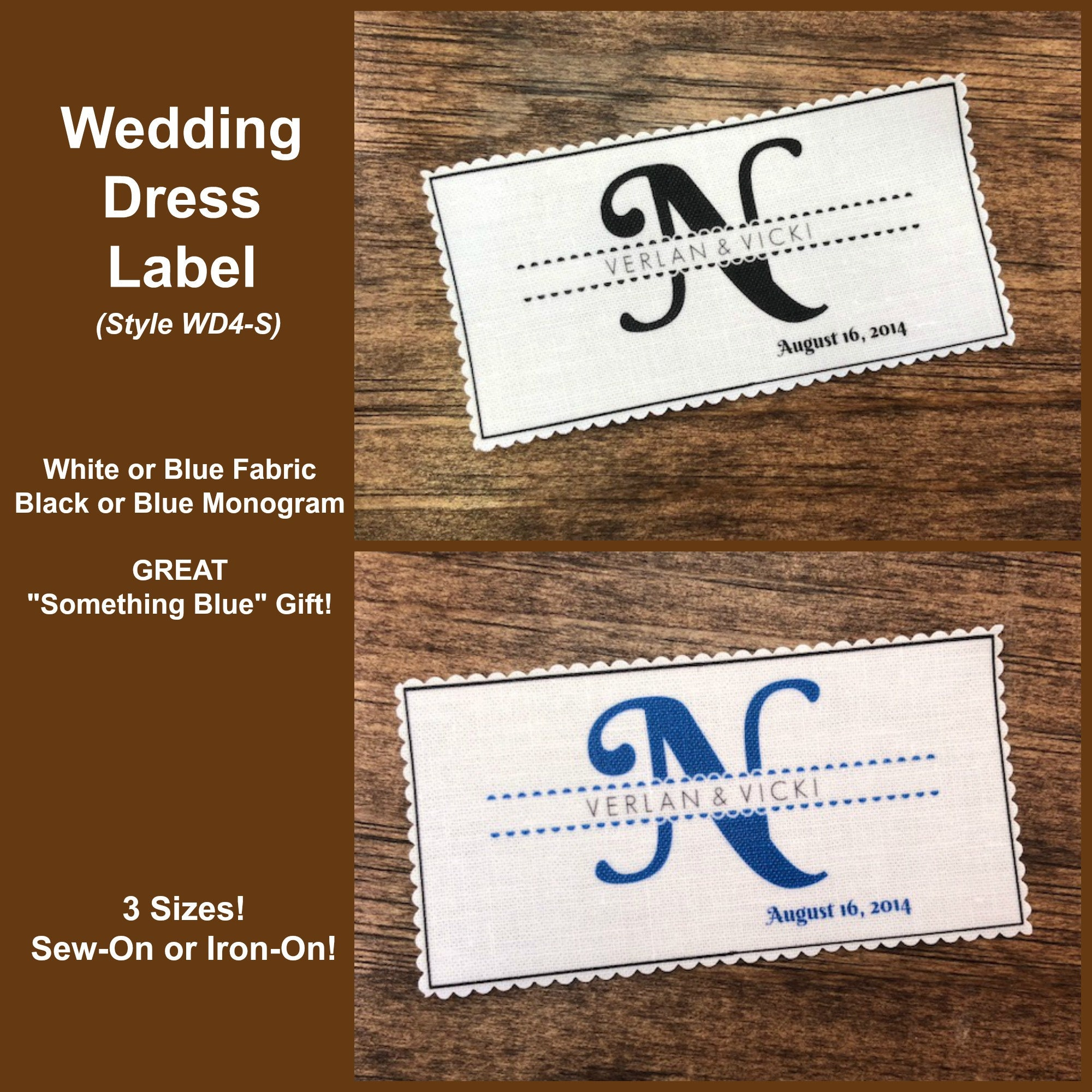 Something Blue Bridal Gift Dress Label Dress Tag Monogram Label