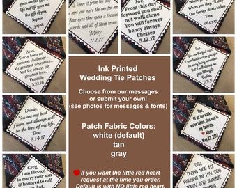 "PERSONALIZED TIE PATCH - Sew On, Iron On, - Father of the Bride - Father of the Groom - Groom Tie Patch, Wedding Tie Patch, 2.5"" Wide Patch"