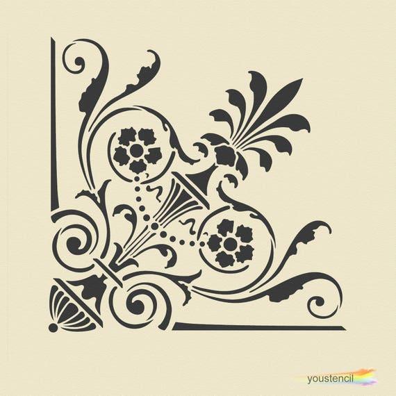 Vittoriano angolo stencil, per pareti, mobili e arte. ST7