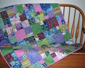 """Modern Quilted Throw, Kaffe Fassett Floral Patchwork Quilt, Blue Green Lavender Scrappy Lap Quilt, 39""""x59"""", Quiltsy Handmade"""