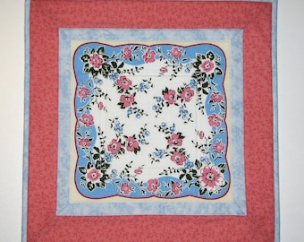 Shabby Cottage Chic Quilted Table Topper, Pink and Blue Floral Quilted Candle Mat, Vintage-Look Handkerchief Table Mat, Quiltsy Handmade