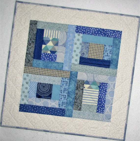 Shabby Cottage Chic Table Topper 36x38.5 Octagon Spring Floral Table Topper Blue and Yellow Quilted Table Runner