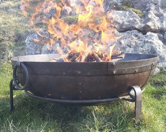 Indian Garden Fire Pit / Bowl / BBQ - Handmade From Recycled Materials - Kadai Bowls 40cm, 60cm, 70cm, 80cm & 90cm - Fast FREE UK Delivery