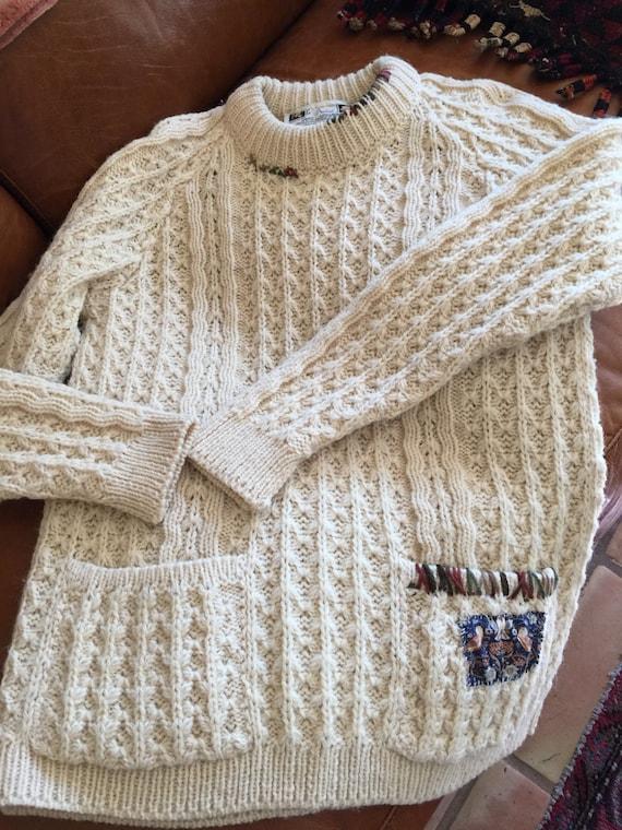 Vintage embellished  hand knit sweater