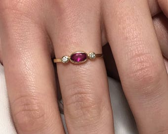 Natural Mozambican Ruby and Diamond Ring