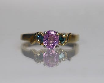 10K Pink Madagascan Sapphire and Blue Diamond Gold Ring