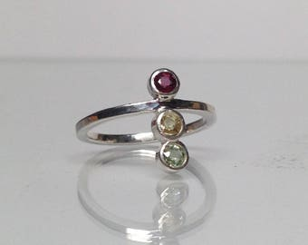Silver Sapphire Traffic Light Ring