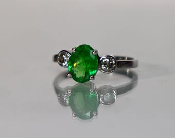 Emerald Green Tsavorite Garnet Ring in 14k White Gold with Diamond accents