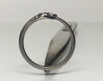 Diamond and Silver Ouroboros Ring (Snake Eating Tail)