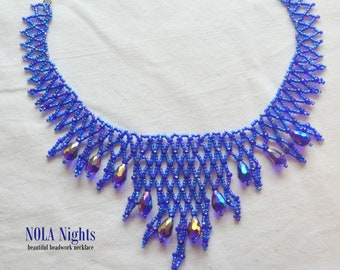 NOLA Nights - Bead Netting Statement Necklace with Crystal Dangles (COBALT BLUE)