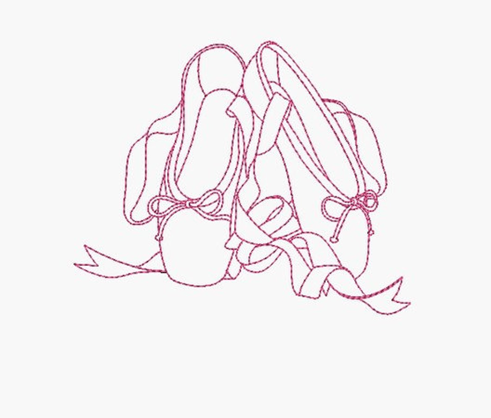 instant download machine embroidery design ballet shoes redwork