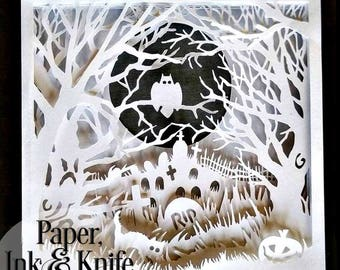 Shadow box 3D Layered papercutting template. Halloween Spooky Graveyard,  Machine or Hand cut SVG, DXF, PDF personall use