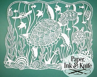 Sea Turtles  Papercut Template. Intricate and Detailed for the intermediate cutter.  Personal or limited Commercial use