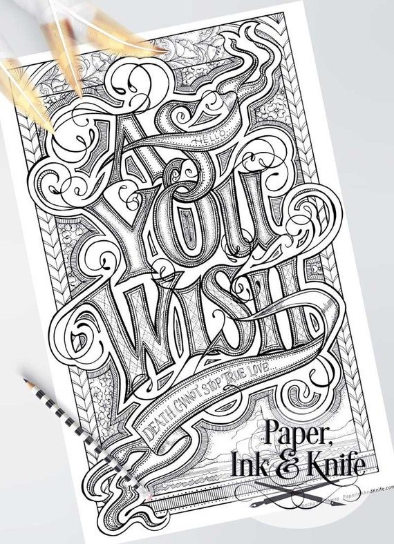 As You Wish Large Adult Coloring Page Intricate Hand Etsy