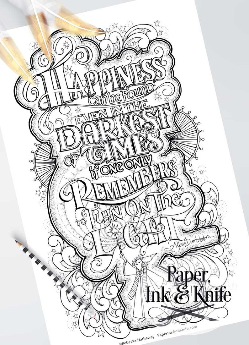 Dumbledore quote large adult coloring page kids room hand etsy