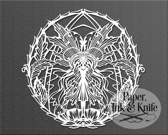 DXF Papercut Template Flowerpots and Butterflies Mandala round floral design PDF Commercial use digital download Machine or Hand cut SVG