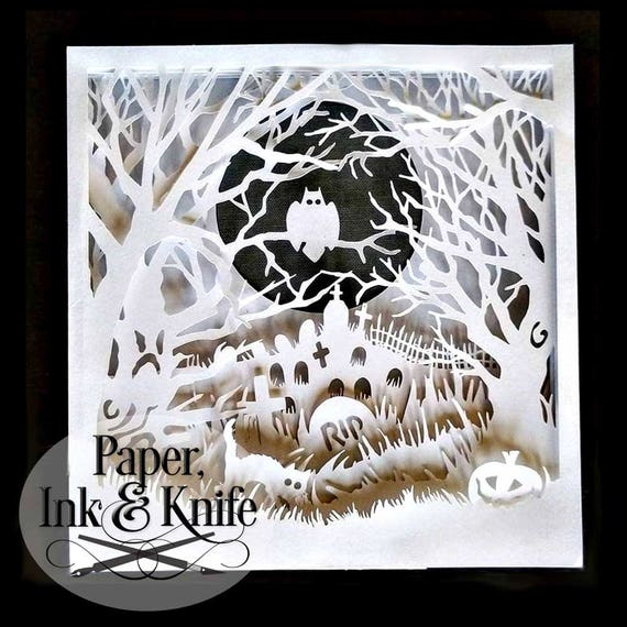 shadow box 3d layered papercutting template halloween spooky etsy