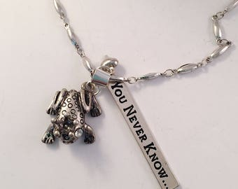 Silver Pendant Necklace, Gift for Her, Necklaces, Frog, Charm, Art Nouveau, Jewelry, Gypsy, Boho, Birthday, Inspirational, Bohemian
