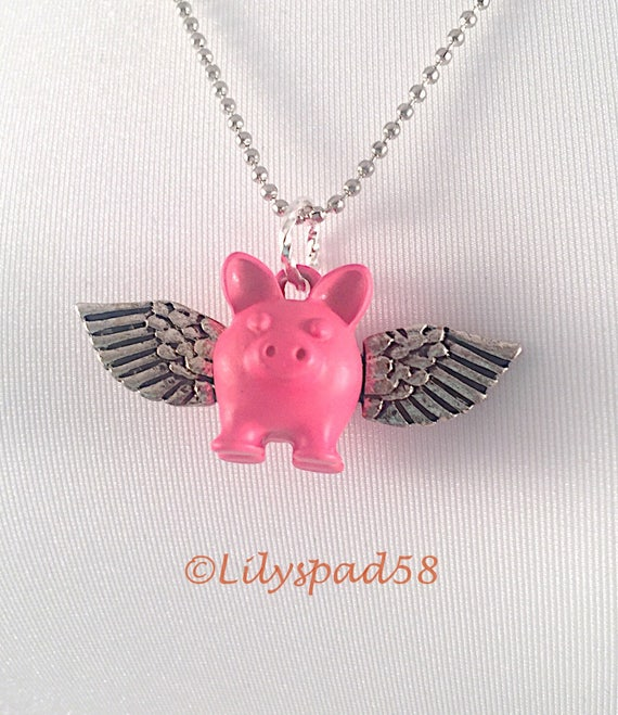 Pig Gifts Trending Necklace Whimsical Necklace Gifts Under 50 Funny Jewelry Artisan Made Fun Gift Ideas Art Nouveau Style