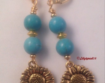 Gemstone Beaded Earrings, Gift for Her, Earrings, Turquoise, Gold, Flower, Art Nouveau, Jewelry, Bohemian, Birthday, Gypsy, Boho