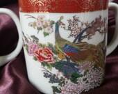 Two Satsuma Pottery Cups, Mugs, Japan Peacocks Mugs, Birds, Flowers Oriental Asian Pottery, Vintage