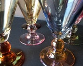 Set of 6 Cristalleria Fratelli Fumo Handmade in Italy Vintage Multi Colored Opalescent Wine Beverage Crystal Glasses Mid Century