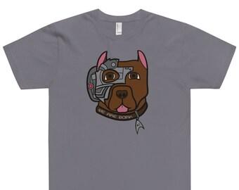 We Are Bork — Star Trek Picard Straight Cut T-Shirt — Picard's Dog Fan Art for Trekkies — Crew Neck Tee for Dog Lovers — Borg's Best Friend