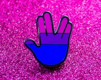 NEW Bi Pride Vulcan Salute Pin — Nerdy Bisexual Flag Pride Swag — Star Trek Pride Collectible — Gift for Bi Trekkies — Hard Enamel Lapel Pin