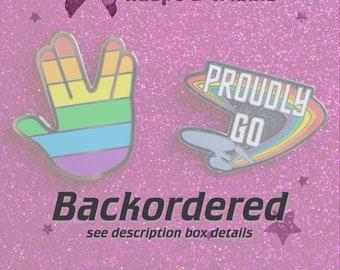 "BACKORDER Pride Combo Pack — Vulcan Salute & ""Proudly Go"" Enamel Pins — LGBTQIA+ Pride Pin Badges — Lapel Badge Gift Set for Star Trek Fans"