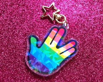 "Holographic Vulcan Salute Keychain — 2.5"" Holo Acrylic Charm Keychain — Cute Secret Santa Stocking Stuffer Gift — LGBTQ Pride"