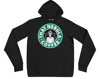 "Trekkie Pullover Hoodie — Captain Janeway's ""That Nebula Coffee"" — Star Trek Voyager Fandom — Custom Printed Nerd Sweater w/ Big Front Logo"