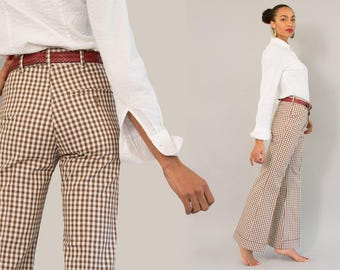 Deadstock Levi's Panatela Trousers - NOS Vintage 70s Brown and White Gingham Check Plaid Bell Bottom Pants Wide Leg Deep Cuff Trousers M