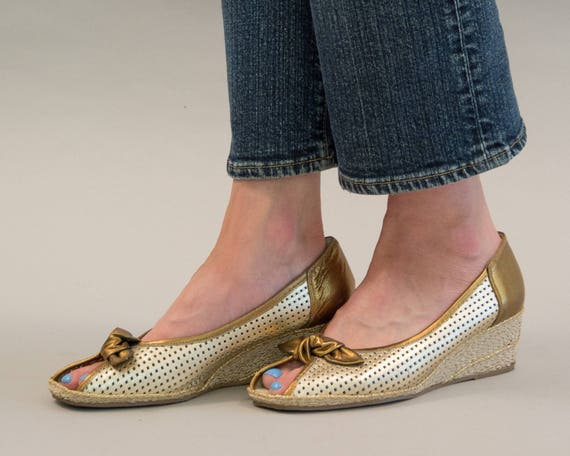 adac75e0bf Metallic Gold and Bronze Leather Espadrille Wedges with Rope   Etsy