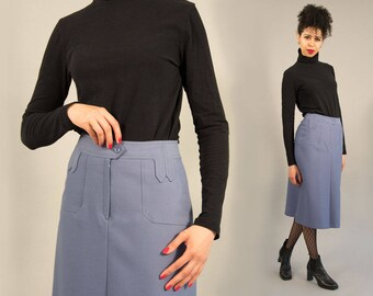 Mod Skirt - 1960s 70s Purple Tailored Skirt by Matta Harry French Designer Made in France Knee Length A-Line Skirt size 40