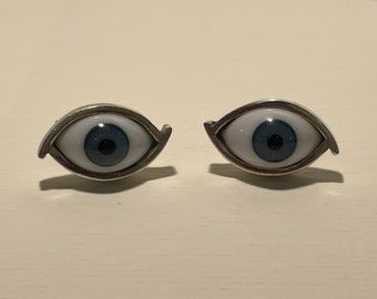 Vintage Glass Eyeball Cufflinks & Tie Pin Taxco Mexico Sterling 925
