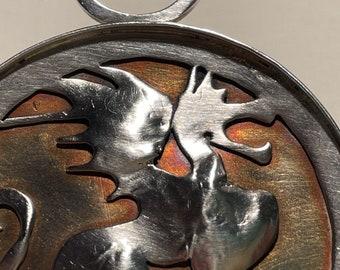 Antique Arts & Crafts mixed metals medieval dragon pendant