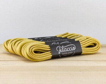 bae37ceca4ccb Yellow shoe laces - Dress shoelaces - Boot Laces - Round waxed cotton  shoelaces - Groomsmen gift - Made in Italy