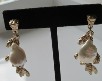 Gold-tone Coral Branch Pearl Dangle Earrings