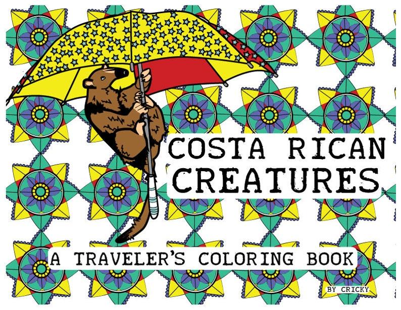 Fine Costa Rica Printable Travel Coloring Book Digital Download Travel Coloring Book Interior Design Ideas Tzicisoteloinfo