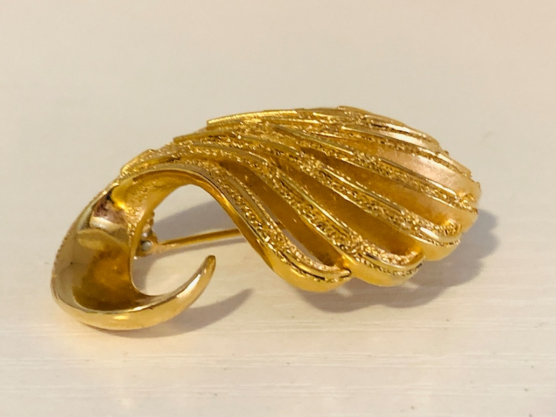 Trifari Vintage Brooch gold Designer Valentine BFF Gifts for her Premiere Brooch  90s 80s fashion style love pretty collectible designer pin