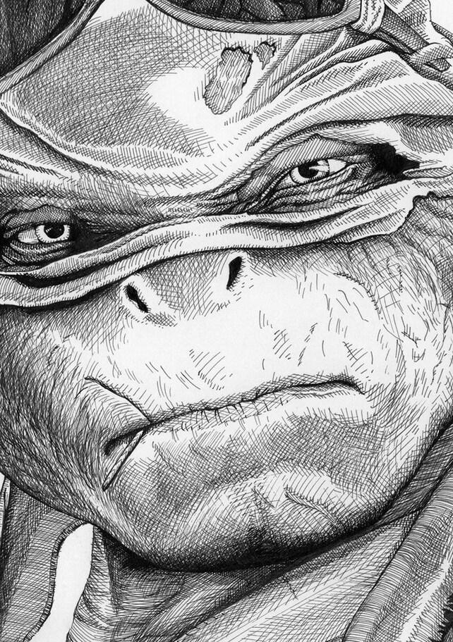 Impresión de retrato de tortuga Raphael Ninja | Etsy